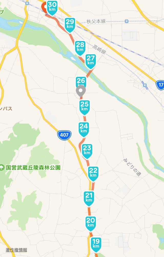 ローソン・スリーエフ プリテール東松山向台店〜熊谷駅へのルート