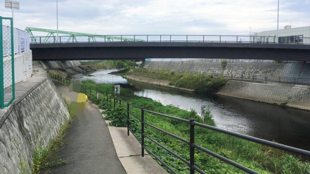 鶴見川沿いの歩道と橋と川