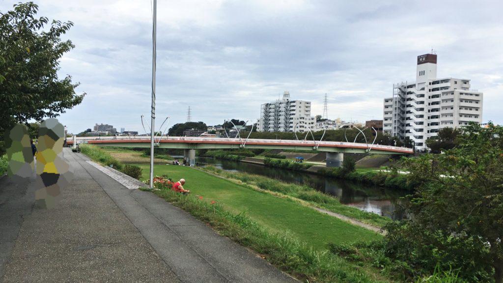 鶴見川河川敷の橋と歩道