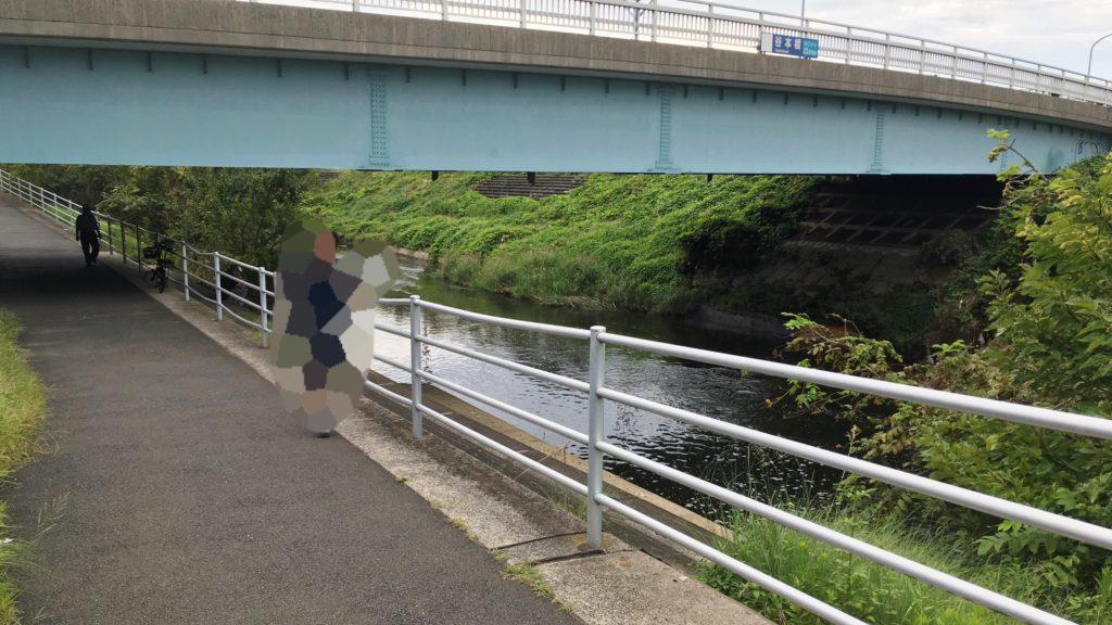 谷本川沿いの道と橋と川