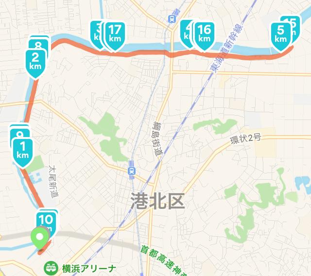 よこはま月例マラソンの20kmコース図