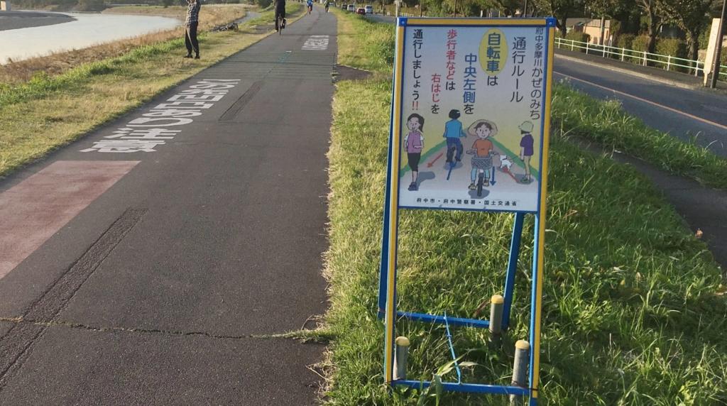 府中多摩川かぜのみちの通行ルールの看板