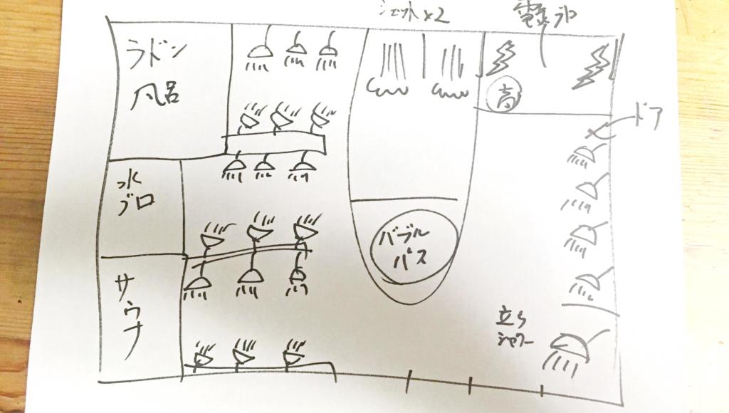 立川市の高砂湯のお風呂場見取り図