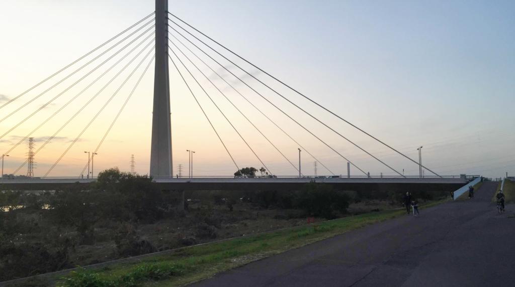 府中四谷橋辺りの多摩川サイクリングロード