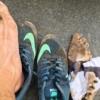 泥だらけの靴と靴下と足