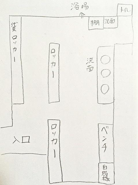 中目黒の銭湯「光明泉」の脱衣所の見取り図