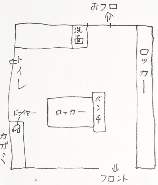 川崎大師近くの銭湯「日の出おふろセンター」の脱衣所の見取り図