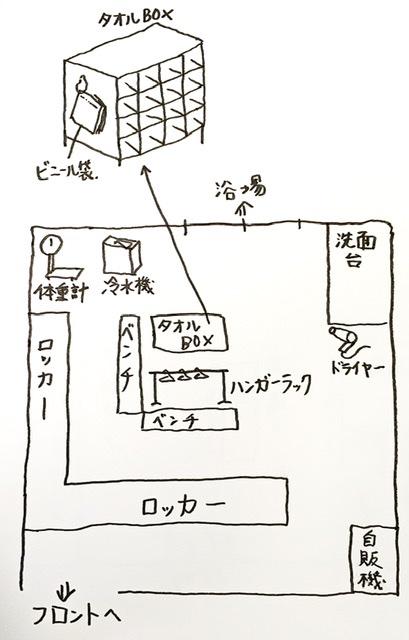 池尻大橋の銭湯「文化浴泉」の脱衣所見取り図