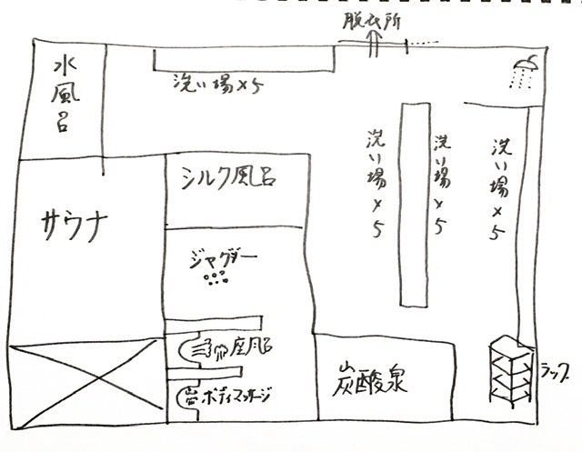 武蔵小杉の銭湯「今井湯」の風呂場の見取り図