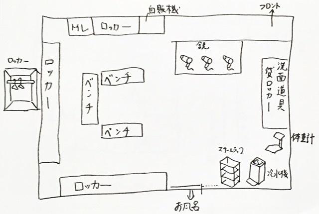 武蔵小杉の銭湯「今井湯」の脱衣所見取り図