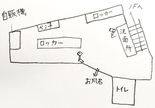 中央区の銭湯「銀座湯」の脱衣所の見取り図