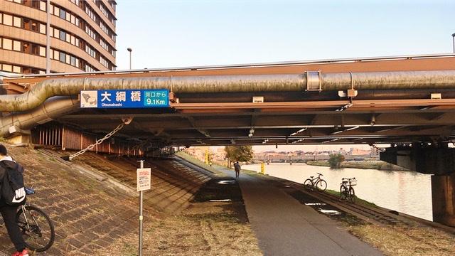 鶴見川河川敷の大網橋下