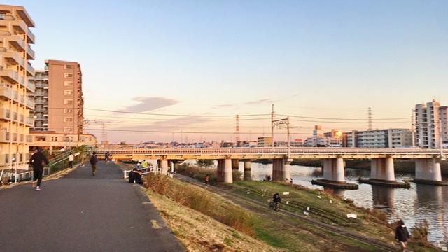 鶴見川河川敷の綱島地点