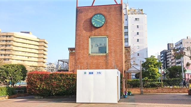 目黒川船入場の仮設トイレ
