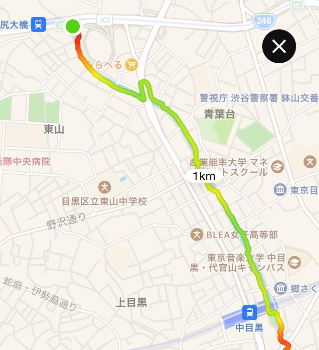池尻大橋から中目黒までの地図