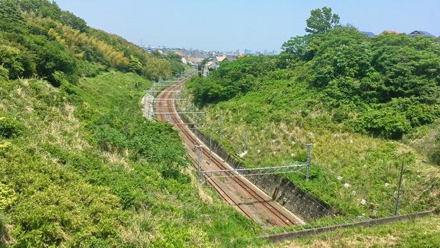 環状2号からのぞむ東海道線