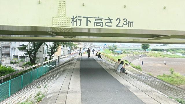 多摩川河川敷右岸の鉄橋下