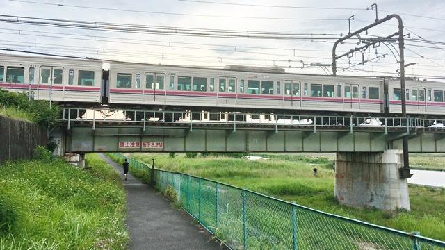 多摩川右岸から見る京王線