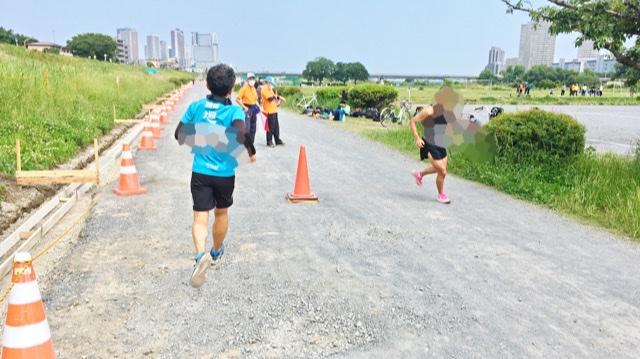 月例川崎マラソン3kmの部の2回目の折り返し