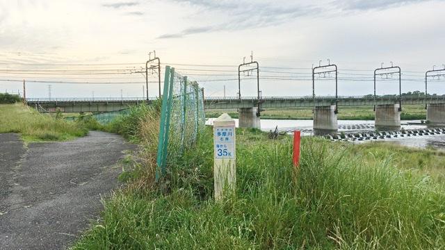 多摩川河口から35キロポスト(右岸)