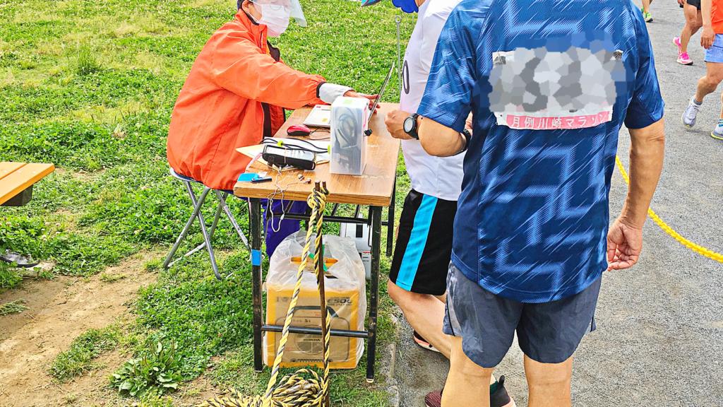月例川崎マラソン1kmゴール後のバーコード読み取り