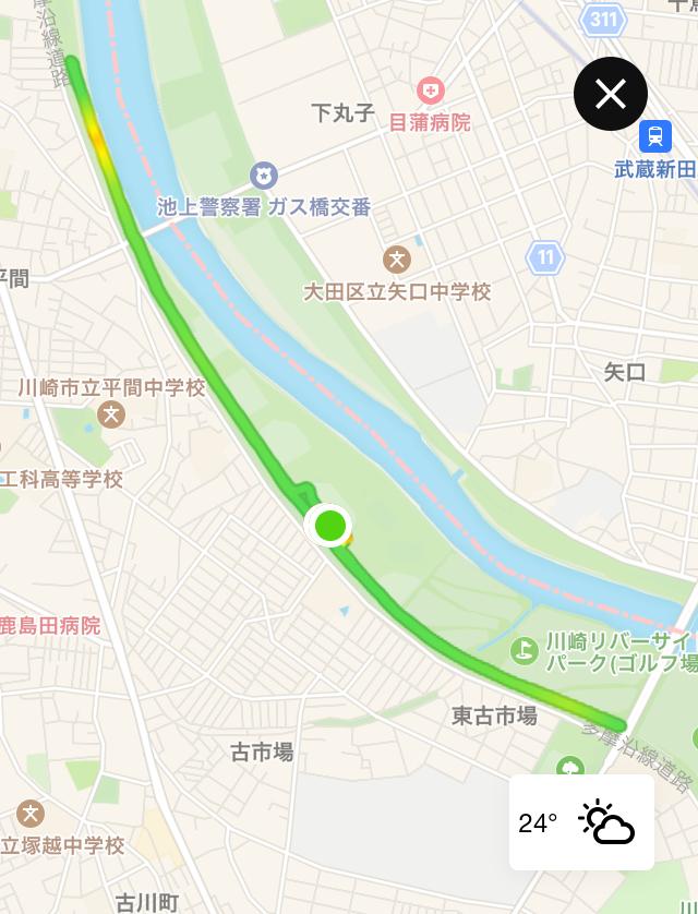 月例川崎マラソン5kmのトラッキングデータ