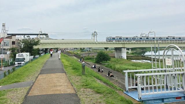 多摩川河川敷右岸から見る小田急線