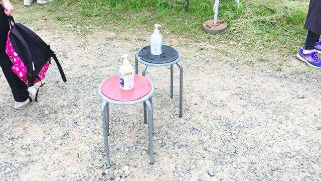 月例川崎マラソンに設置されている消毒液
