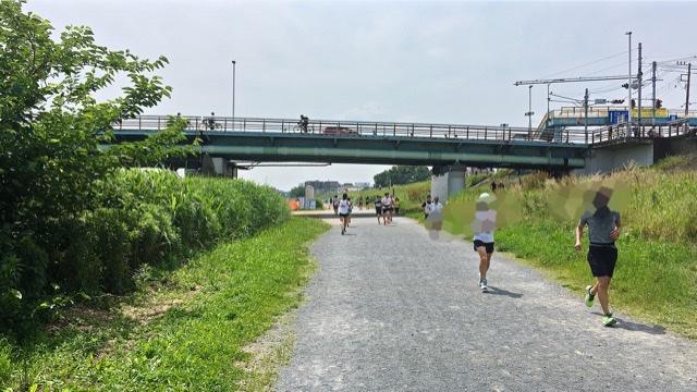 月例川崎マラソン5kmの部で上流から下流へガス橋をくぐるところ