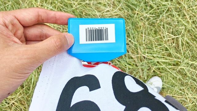 月例川崎マラソンのバーコード装着例