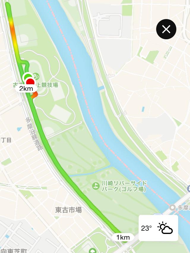 月例川崎マラソン3kmのトラッキングデータ