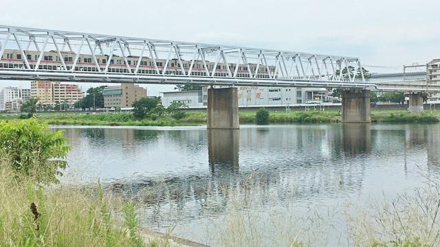 多摩川河川敷右岸から見る京王多摩川線