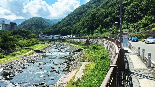 箱根湯本手前の道路と川