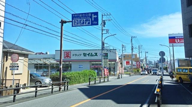 伊勢原藤原線の平塚市総合公園への標識